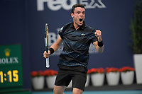 MIAMI GARDENS, FLORIDA - MARCH 26: Roberto Bautista Agut of Spain defeats Novak Djokovic of Serbia during day 9 of the Miami Open presented by Itau at Hard Rock Stadium on March 26, 2019 in Miami Gardens, Florida.<br /> <br /> People: Roberto Bautista Agut