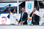 Real Madrid Marcelo, Cristiano Ronaldo and Sergio Ramos during the celebration of the Thirteen Champions League at Cibeles Fountain in Madrid, Spain. May 27, 2018. (ALTERPHOTOS/Borja B.Hojas)