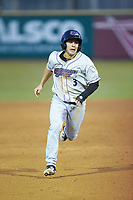 Nick Madrigal (3) of the Winston-Salem Dash hustles towards third base against the Down East Wood Ducks at Grainger Stadium Field on May 17, 2019 in Kinston, North Carolina. The Dash defeated the Wood Ducks 8-2. (Brian Westerholt/Four Seam Images)