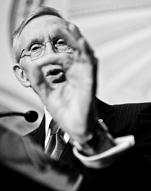 WASHINGTON, DC - Senate Majority Leader Harry Reid speaks to reporters in the Capitol on Dec. 13, 2011, as Congress races to wrap up votes before the Christmas recess.
