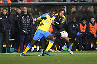 Joel Nouble of Haringey and Toby Sibbick of Wimbledon during Haringey Borough vs AFC Wimbledon, Emirates FA Cup Football at Coles Park Stadium on 9th November 2018