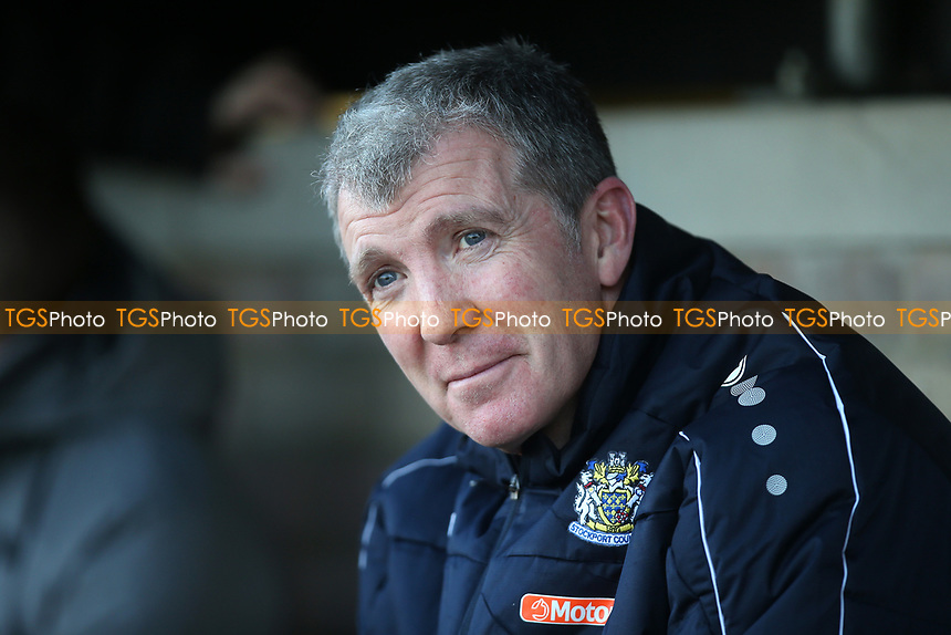 Stockport manager Jim Gannon during Dagenham & Redbridge vs Stockport County, Vanarama National League Football at the Chigwell Construction Stadium on 8th February 2020