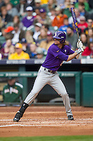 LSU Tigers outfielder Mark Laird (9) at bat during the NCAA baseball game against the Baylor Bears on March 7, 2015 in the Houston College Classic at Minute Maid Park in Houston, Texas. LSU defeated Baylor 2-0. (Andrew Woolley/Four Seam Images)