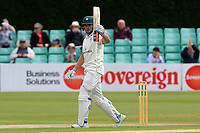 Joe Clarke of Worcestershire raises his bat to celebrate reaching his fifty during Worcestershire CCC vs Essex CCC, Specsavers County Championship Division 1 Cricket at Blackfinch New Road on 12th May 2018