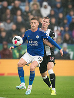 Harvey Barnes of Leicester City & Emil Krafth of Newcastle United during the Premier League match between Leicester City and Newcastle United at the King Power Stadium, Leicester, England on 29 September 2019. Photo by Andy Rowland.