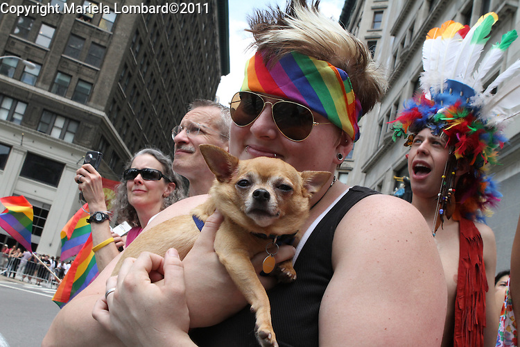 Paradegoers celebrating the Gay pride parade along Fifth Ave. in Manhattan.