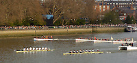 London, GREAT BRITAIN,  Opening  strokes of the 2007 Boat Race as the crews, Cambridge Right, move along the Fulham Wall, during the 2007 Boat Race between Putney to Mortlake, on  Sat. April 7th. England [Photo Patrick White/Intersport Images] Varsity Boat Race, Rowing Course: River Thames, Championship course, Putney to Mortlake 4.25 Miles,