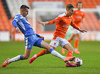 Blackpool's Daniel Kemp is fouled by  Barrow's Callum Gribbin<br /> <br /> Photographer Dave Howarth/CameraSport<br /> <br /> EFL Trophy Northern Section Group G - Blackpool v Barrow - Tuesday 8th September 2020 - Bloomfield Road - Blackpool<br />  <br /> World Copyright © 2020 CameraSport. All rights reserved. 43 Linden Ave. Countesthorpe. Leicester. England. LE8 5PG - Tel: +44 (0) 116 277 4147 - admin@camerasport.com - www.camerasport.com