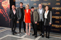 The left to the right, producer Jon Kilik, actor Liam Hemsworth, actress Jennifer Lawrence, actor Josh Hutcherson, director Francis Lawrence and producer Nina Jacobson during the presentation of film &quot;The Hunger Games: Sinsajo Part 2&quot; in Madrid, Novermber 10, 2015.<br /> (ALTERPHOTOS/BorjaB.Hojas)