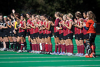 STANFORD, CA - November 4, 2011: Team introduction before the Stanford vs. Davidson in the second round of  the  NorPac Championship at the Varsity Turf on the Stanford campus Friday afternoon.<br /> <br /> Stanford defeated Davidson 7-2.