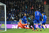 18th March 2018, King Power Stadium, Leicester, England; FA Cup football, quarter final, Leicester City versus Chelsea; Jamie Vardy of Leicester City cleans up in the box and scores making it 1-1 in minute 76