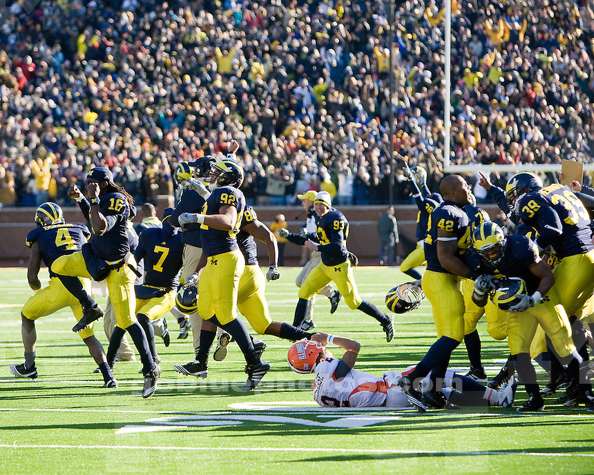 University of Michigan football 3OT 67-65 victory over Illinois at Michigan Stadium in Ann Arbor, MI, on November 6, 2010.