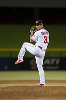 Mesa Solar Sox relief pitcher Daniel Procopio (31), of the Los Angeles Angels organization, delivers a pitch during an Arizona Fall League game against the Scottsdale Scorpions at Sloan Park on October 10, 2018 in Mesa, Arizona. Scottsdale defeated Mesa 10-3. (Zachary Lucy/Four Seam Images)