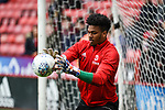Jamal Blackman of Sheffield Utd warms up ahead of  the Championship league match at Bramall Lane Stadium, Sheffield. Picture date 28th April, 2018. Picture credit should read: Harry Marshall/Sportimage