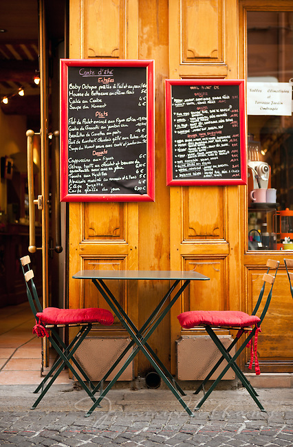 Outdoor seating for a cafe in France