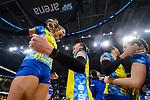 24.02.2019, SAP Arena, Mannheim<br /> Volleyball, DVV-Pokal Finale, SSC Palmberg Schwerin vs. Allianz MTV Stuttgart<br /> <br /> Jubel Schwerin nach Matchball / Sieg<br /> Beta Dumancic (#11 Schwerin), Mckenzie Adams (#13 Schwerin), Lauren Barfield (#12 Schwerin), Denise Hanke (#10 Schwerin)<br /> <br />   Foto © nordphoto / Kurth