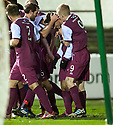 Arbroath's Dylan Carreiro (2nd right) is congratulated after scores their third goal.
