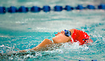 Willow Creek's Mia Coppola competes in the 100 yard free relay race during the 53rd annual Country Club Swimming Championships on Tuesday, Aug. 7, 2012, in Kearns, Utah. (© 2012 Douglas C. Pizac)
