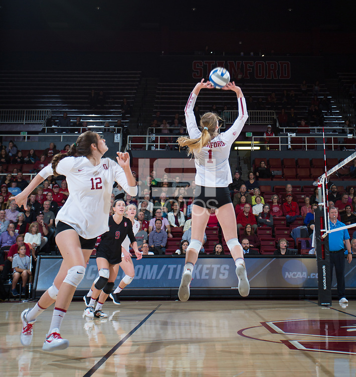 STANFORD, CA - December 1, 2017: Jenna Gray, Audriana Fitzmorris at Maples Pavilion. The Stanford Cardinal defeated the CSU Bakersfield Roadrunners 3-0 in the first round of the NCAA tournament.