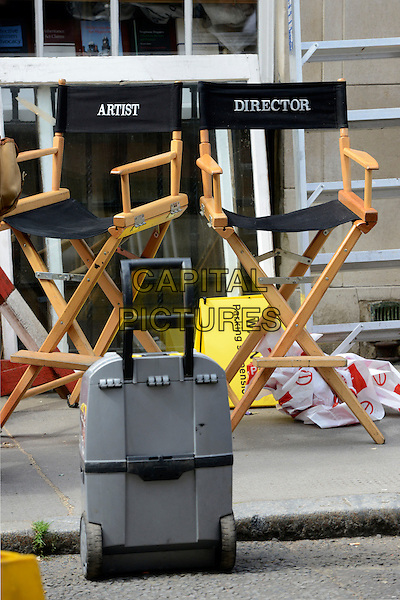 Chairs <br /> Filming on the set of 'Fleming' where Dominic Cooper stars as Ian Fleming, Central London, England.<br /> 29th June 2013<br /> tv mini series artist director<br /> CAP/IA<br /> &copy;Ian Allis/Capital Pictures