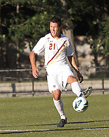 Boston College midfielder/defender Colin Murphy (21) controls the ball at midfield. Boston College defeated University of Rhode Island, 4-2, at Newton Campus Field, September 25, 2012.