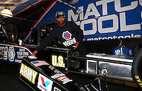 Aug. 4, 2013; Kent, WA, USA: NHRA top fuel dragster driver Antron Brown during the Northwest Nationals at Pacific Raceways. Mandatory Credit: Mark J. Rebilas-USA TODAY Sports