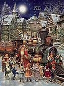 Interlitho-Simonetta, CHRISTMAS SANTA, SNOWMAN, WEIHNACHTSMÄNNER, SCHNEEMÄNNER, PAPÁ NOEL, MUÑECOS DE NIEVE, paintings+++++,santa,train,KL6110,#x# ,nostalgic,retro ,classic ,puzzle
