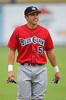 Travis D'Arnaud #5 of the Lakewood BlueClaws at Fieldcrest Cannon Stadium July 8, 2009 in Kannapolis, North Carolina. (Photo by Brian Westerholt / Four Seam Images)