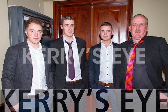 Pictured at the Fealebridge and Headley's Bridge Co-Op 45th Annual Social at the Devon Inn hotel, Templeglantine on Friday night were L-R: Joe Browne, Abbeyfeale, John Shearan, Duagh, William Clifford, Abbeyfeale and John Shearan, Duagh.