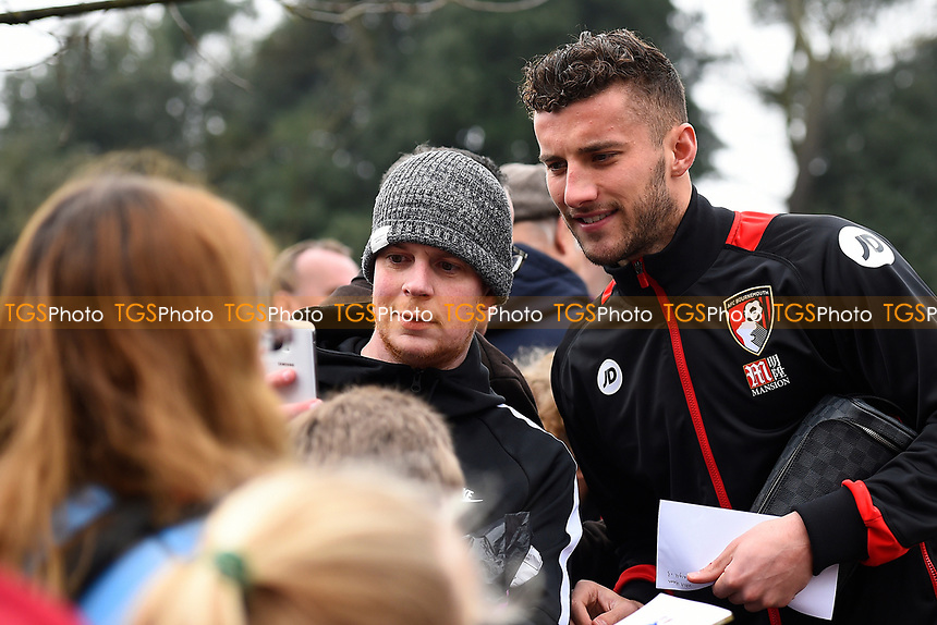 Baily Cargill of AFC Bournemouth poses for a picture with a fan and could make his first Premier League start  during AFC Bournemouth vs West Ham United, Premier League Football at the Vitality Stadium on 11th March 2017