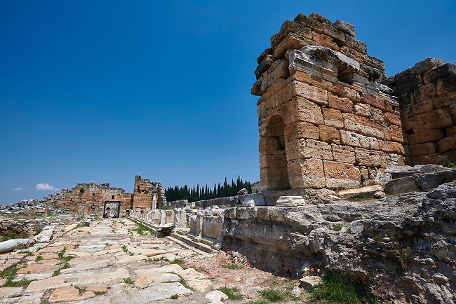 Picture of the Nymphaeum located inside the sacred area in front of the Apollo temple on the main colonnaded road. Dated from the 2nd century AD and repaired in the 5th century during the Byzantine era. Hierapolis archaeological site near Pamukkale in Turkey.