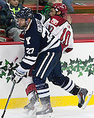 Charles Orzetti (Yale - 27), Brayden Jaw (Harvard - 10) - The visiting Yale University Bulldogs defeated the Harvard University Crimson 2-1 (EN) on Saturday, November 15, 2014, at Bright-Landry Hockey Center in Cambridge, Massachusetts.