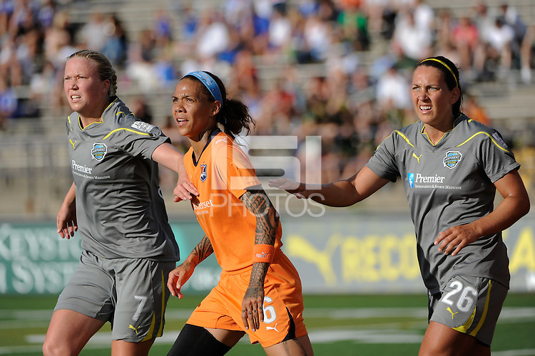 Natasha Kai (6) of Sky Blue FC is defended by Sara Larsson (7) and Holmfridur Magnusdottir (26)  of the Philadelphia Independence during a Sky Blue FC free kick. The Philadelphia Independence defeated Sky Blue FC 2-1 during a Women's Professional Soccer (WPS) match at John A. Farrell Stadium in West Chester, PA, on June 6, 2010.