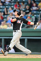 Infielder Ryan Rua (2) of the Hickory Crawdads bats in a game against the Greenville Drive on Friday, June 7, 2013, at Fluor Field at the West End in Greenville, South Carolina. Greenville won the resumption of this May 22 suspended game, 17-8. (Tom Priddy/Four Seam Images)