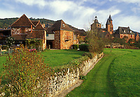 Dordogne, Perigord, France, Limousin, Correze, Collonges-la-Rouge, Europe, Scenic view of the medieval village of Collonges-la-Rouge made entirely of bright red sandstone.