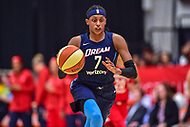 Washington, DC - August 31, 2018: Atlanta Dream guard Brittney Sykes (7) brings the ball up court during semi finals playoff game between Atlanta Dream and Wasington Mystics at the Charles Smith Center at George Washington University in Washington, DC. (Photo by Phil Peters/Media Images International)