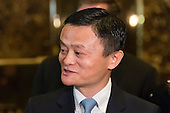 Following his meeting with President-elect Trump, Jack Ma, Founder and Executive Chairman of Alibaba, is seen is seen speaking with the press in the lobby of Trump Tower in New York, NY, USA on January, 9, 2017. <br /> Credit: Albin Lohr-Jones / Pool via CNP