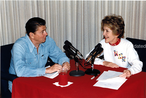 United States President Ronald Reagan was joined by first lady Nancy Reagan in his weekly radio speech to the nation from Camp David, Maryland on Saturday, June 30, 1984<br /> Mandatory Credit: Bill Fitz-Patrick - White House via CNP