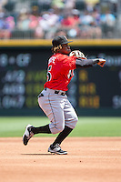 Indianapolis Indians shortstop Gift Ngoepe (5) makes a throw to first base against the Charlotte Knights at BB&T BallPark on June 19, 2016 in Charlotte, North Carolina.  The Indians defeated the Knights 6-3.  (Brian Westerholt/Four Seam Images)