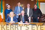 Members of the Kenmare Municipal District.<br /> Seated l to r: Cllr Norma Moriarty (Leas Cathaoirleach) and  Cllr Dan McCarthy (Cathaoirleach).<br /> Standing l to r: Cllr John Francis Flynn, Cllr Patrick Connor-Scarteen, Cllr Michael Cahill and Cllr Johnny Healy-Rae