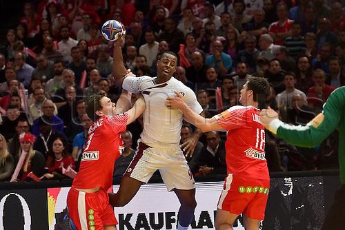 January 20th 2017; Nantes, France, IHF World handball Championships; Denmark versus Qatar; CAPOTE Rafae (Qatar)  ; Denmark won 32-29