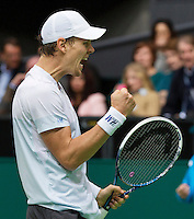 Rotterdam, The Netherlands. 15.02.2014. Tomas Berdych(TSJ) celebrating his victory with a fist at the ABN AMRO World tennis Tournament<br /> Photo:Tennisimages/Henk Koster