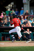 Erie SeaWolves second baseman Harold Castro (3) follows through on a swing during a game against the Akron RubberDucks on August 27, 2017 at UPMC Park in Erie, Pennsylvania.  Akron defeated Erie 6-4.  (Mike Janes/Four Seam Images)