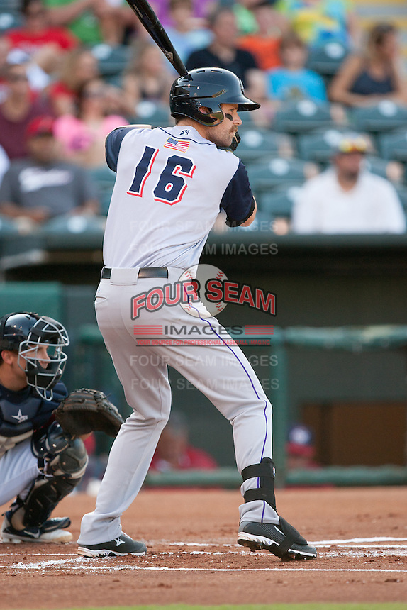 Colorado Springs Sky Sox first baseman Ben Paulsen (16)  batting at the Chickasaw Bricktown Ballpark during the Pacific League game against the Oklahoma City RedHawks on August 3, 2014 in Oklahoma City, Oklahoma.  The RedHawks defeated the Sky Sox 8-1.  (William Purnell/Four Seam Images)