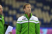 SCHAATSEN: HEERENVEEN: 05-10-2013, IJsstadion Thialf, Trainingwedstrijd, assistent-coach Rutger Tijssen, ©foto Martin de Jong