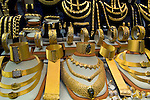 Gold jewelry on display for sale at Grand Covered Bazaar, Istanbul, Turkey