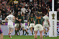 1st November 2019, Yokohama, Japan;  Players of South Africa celebrate scoring a try by Cheslin Kolbe during the 2019 Rugby World Cup Final match between England and South Africa at the International Stadium Yokohama in Yokohama, Kanagawa, Japan on November 2, 2019.