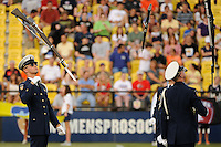 US Coast Guard silent drill team performs during the Women's Professional Soccer (WPS) All-Star Game at KSU Stadium in Kennesaw, GA, on June 30, 2010.