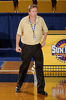 20 November 2008:  New Orleans Volleyball Head Coach Jozsef Forman watches his players late in the New Orleans 3-1 victory over UALR in the first round of the Sun Belt Conference Championship tournament at FIU Stadium in Miami, Florida.