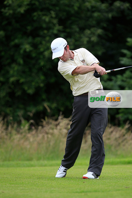 Stephen Noonan (Newcastle West) on the 14th tee during the Final round of the Munster section of the AIG Pierce Purcell Shield at East Clare Golf Club on Sunday 19th July 2015.<br /> Picture:  Golffile | Thos Caffrey